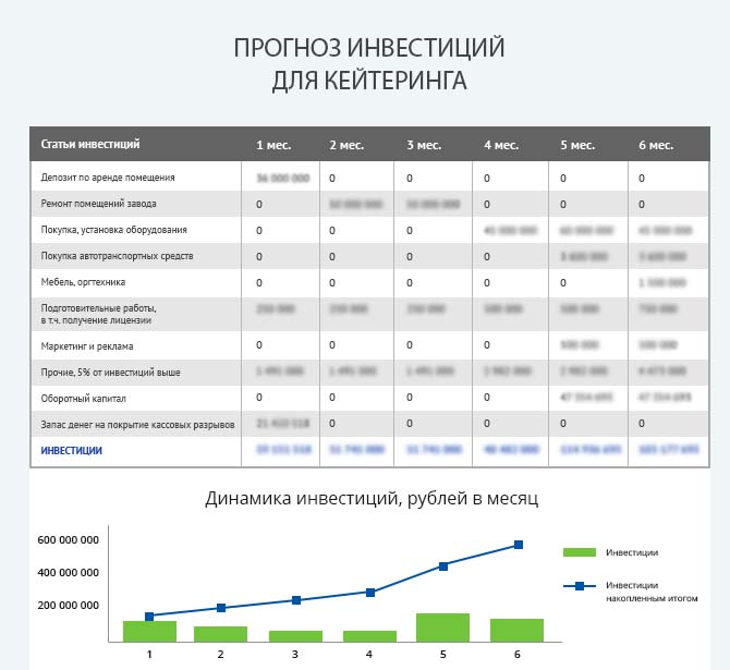 Детальный расчет инвестиций для запуска кейтеринга