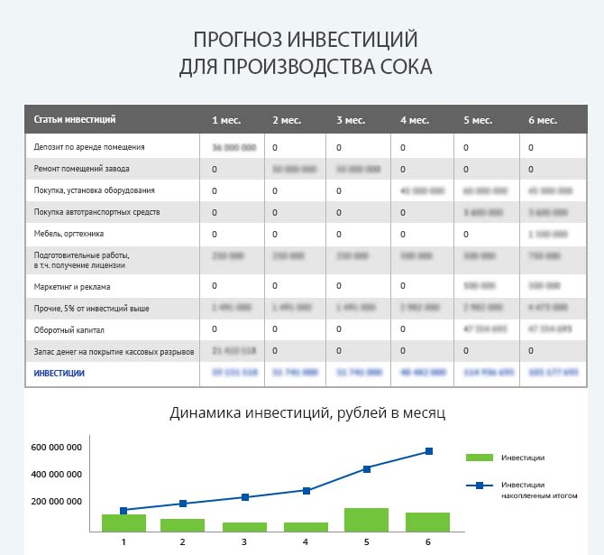 Детальный расчет инвестиций для запуска производства сока