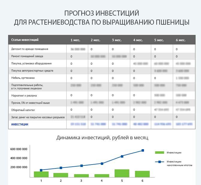 Детальный расчет инвестиций для запуска хозяйства по растениеводству