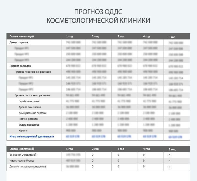 Прогноз движения денежных средств косметологической клиники