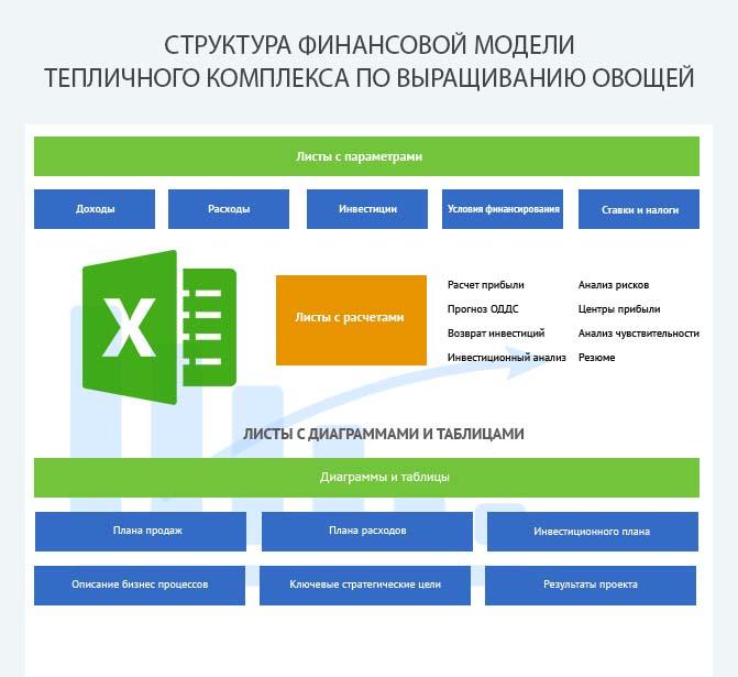 Структура финансовой модели тепличного комплекса