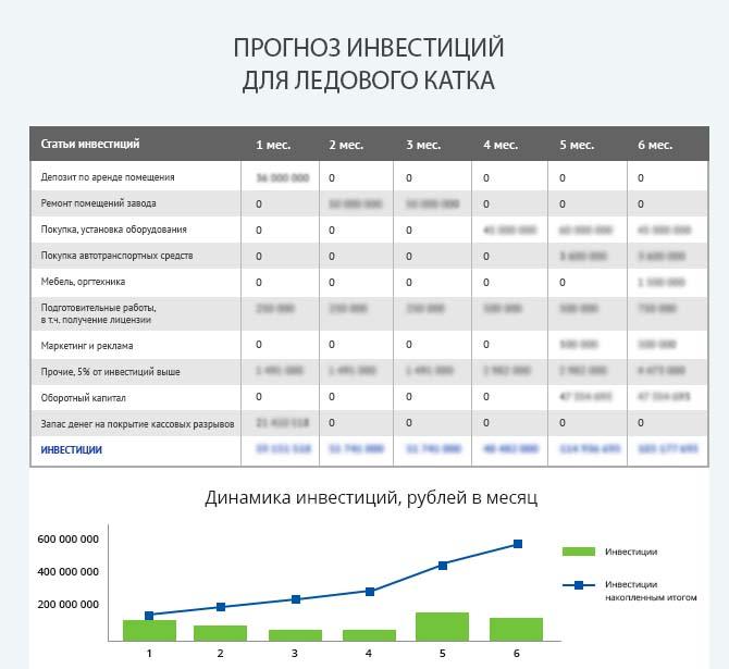 Детальный расчет инвестиций ледового катка