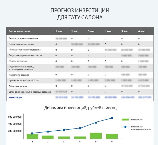 Детальный расчет инвестиций тату салона