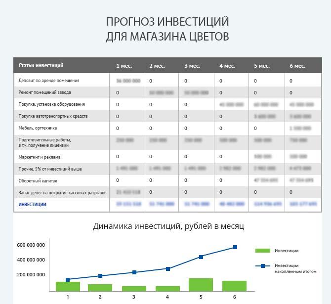 Детальный расчет инвестиций цветочного магазина